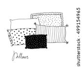 beautiful pillows on a white...   Shutterstock .eps vector #499154965
