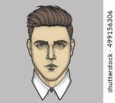 hand drawn portrait of man full ... | Shutterstock .eps vector #499156306