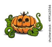 cartoon vector halloween... | Shutterstock .eps vector #499163566