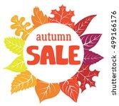 vector autumn sale emblem with... | Shutterstock .eps vector #499166176