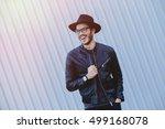 attractive man wearing a... | Shutterstock . vector #499168078