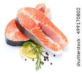 fresh raw salmon red fish steak | Shutterstock . vector #499170802