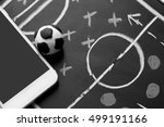 soccer plan with mobile  ... | Shutterstock . vector #499191166
