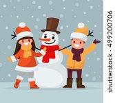 Children Make A Snowman. Vecto...