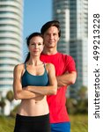 young woman and man joggers... | Shutterstock . vector #499213228
