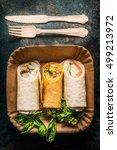 vegetarian wraps on paper plate ... | Shutterstock . vector #499213972