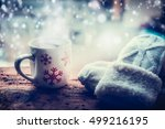 snowflakes mug with hot... | Shutterstock . vector #499216195
