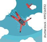 sky diver top view. parachute... | Shutterstock .eps vector #499216552
