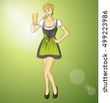 vector cute woman in drindl on... | Shutterstock .eps vector #499223986