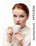 business woman holding cup of... | Shutterstock . vector #49922836