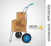 vector trolley with mail boxes... | Shutterstock .eps vector #499246306