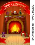 christmas card with red ribbon  ... | Shutterstock .eps vector #499250302