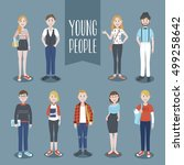 young people collection  | Shutterstock .eps vector #499258642