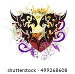 grunge raven heart. tribal...   Shutterstock .eps vector #499268608