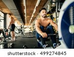 determined bodybuilder rowing... | Shutterstock . vector #499274845