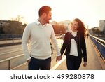 beautiful couple exploring city ... | Shutterstock . vector #499280878