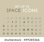 set of 50 solid space icons.... | Shutterstock .eps vector #499285366