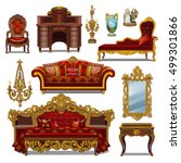 a set of furniture red color... | Shutterstock .eps vector #499301866