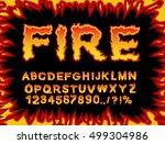 fire font. flame alphabet.... | Shutterstock .eps vector #499304986