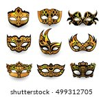 festive masks isolated on white ... | Shutterstock .eps vector #499312705