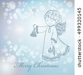 christmas angel on snowfall... | Shutterstock .eps vector #499320145