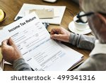 income tax return deduction... | Shutterstock . vector #499341316