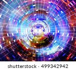 music notes in space with stars.... | Shutterstock . vector #499342942