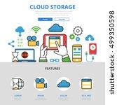 linear flat cloud storage... | Shutterstock .eps vector #499350598
