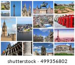 europe landmarks travel collage ... | Shutterstock . vector #499356802
