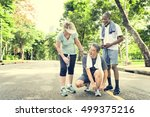 senior people jogging park... | Shutterstock . vector #499375216
