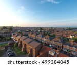 Aerial view of parking and roof tops of British housing development in Yeovil, UK