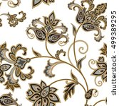 flourish tiled pattern. floral... | Shutterstock .eps vector #499389295