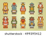 vector set of tribal polynesian ... | Shutterstock .eps vector #499395412