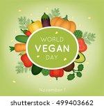 vector card for world vegan day | Shutterstock .eps vector #499403662