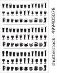set of black icons beer glass.... | Shutterstock .eps vector #499405078