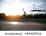 young man jumping and making a... | Shutterstock . vector #499405516