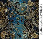 Paisleys floral  elegant vector seamless pattern background wallpaper illustration with vintage stylish beautiful modern 3d gold and black paisley flowers leaves and ornaments on the blue  background.