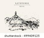 boudhnath  tibetan temple in... | Shutterstock .eps vector #499409125