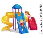 kids playing playground slider... | Shutterstock .eps vector #499412602