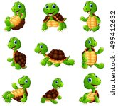 happy turtle cartoon collection ... | Shutterstock . vector #499412632