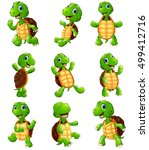 happy turtle cartoon collection ... | Shutterstock . vector #499412716