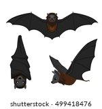 cute bat poses cartoon vector... | Shutterstock .eps vector #499418476