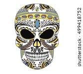 ornate skull style zentangl ... | Shutterstock .eps vector #499418752