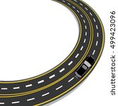 bend in the road with yellow... | Shutterstock .eps vector #499423096