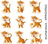 Stock vector vector illustration of leopard cartoon set collection 499424962