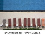 swimming pool with long chairs... | Shutterstock . vector #499426816