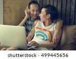 lgbt lesbian couple moments... | Shutterstock . vector #499445656