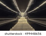 staircase with metal handrail...   Shutterstock . vector #499448656