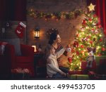 merry christmas and happy... | Shutterstock . vector #499453705