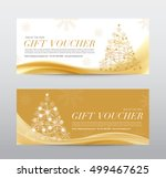 christmas gift voucher coupon... | Shutterstock .eps vector #499467625